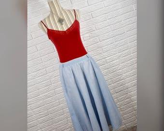 Vtg 80s Gotcha Blue Denim Midi Skirt Sz 10
