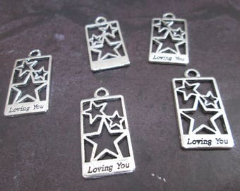 2 charms / pendant-silver metal star 29 x 14 mm