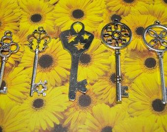 set of 5 key metal charms Silver 5-7 cm # 5