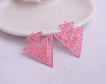 2 prints pink triangles metal 41 x 33 mm