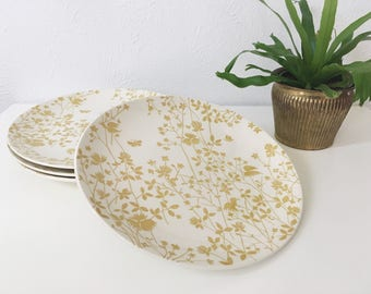 Vintage Golden Meadow Dinner Plates by Sheffield + Set of 4 + Dinner Time + Retro Kitchen + Mid Century