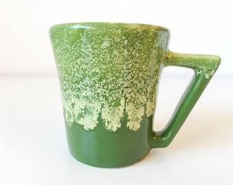 Vintage Mid Century Winart Drip Glaze Stoneware Mug + Atomic Green + Coffee Tea Cup + Southwest MCM Kitchen + Natural Decor