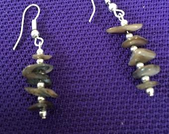 Brown earrings.  Brown chip earrings.  Brown drop earrings.  Silver