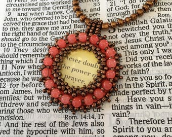 FREE SHIPPING.  Bead embroidery necklace religious.  Orange and copper pendant necklace.
