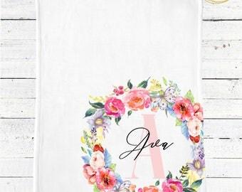 Personalized Monogram Baby Blanket / Monogram Floral Baby Blanket / Personalized Baby Blanket / Floral Baby Blanket / Spring Baby Shower