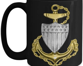 Coast Guard Chief, Senior and Master Chief Petty Officer Coffee Mug- Black or White 11 or 15 oz Cup - Gift for uscg CPO, SCPO, and MCPO