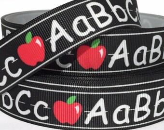 "GROSGRAIN RIBBON 7/8"" Back to School Abc Bh1 By the Yard"