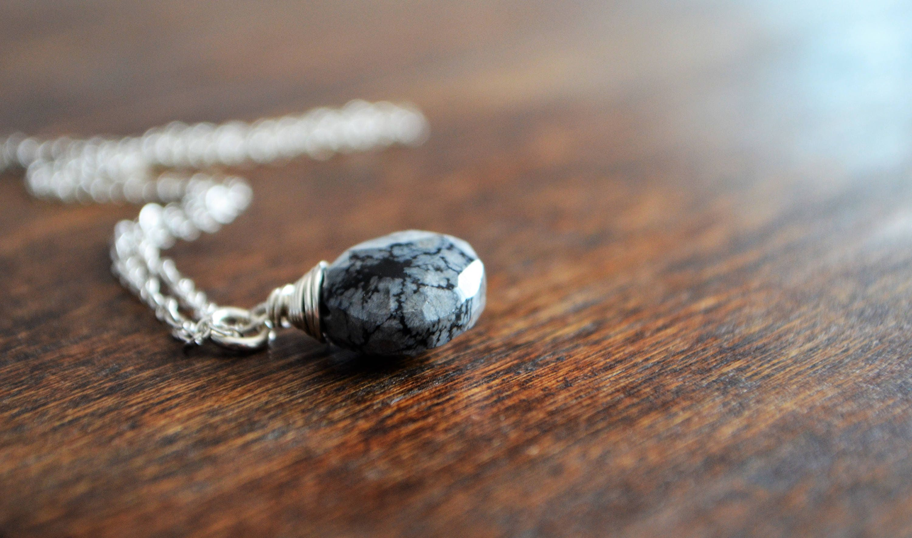 Snowflake Obsidian Drop Necklace in Sterling Silver, Wire Wrapped ...