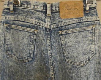 1980's No Excuses Vintage Acid Washed Denim High Waist Tapered Leg Jeans Size 27