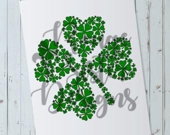St. Patrick's Day Shamrock Made of Shamrocks SVG PNG File