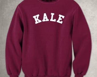 Kale Maroon Sweatshirt White Pullover Jumper Vegan Vinyl Print Funny Slogan Tee Leaf Healthy Hipster Green Vegetable Vegetarian Curly Kale
