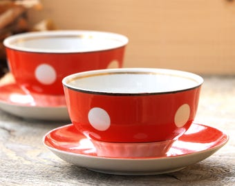 Polka dot cups Red White Pin up Home decor gift Cup with saucer Soviet kitchen Polka dot bowl Latte bowls Russian kitchen Vintage tableware