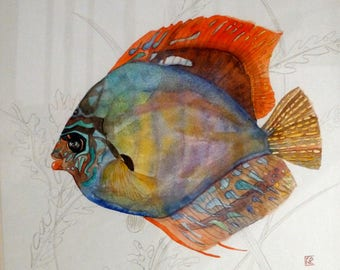 """Tableau Turquoise Art Original contemporary watercolor painting """"discus of Amazonia""""."""