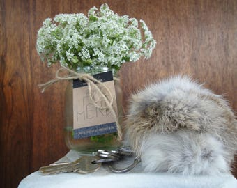 Very FLUFFY keychain made of rabbit fur!!!! Amazing soft hair, great colors!!! Prime quality!!!