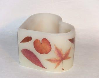 Handmade Beeswax Luminary, Fall Leaf