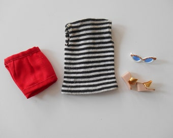 Vintage Barbie Fashion Pak T-Shirt and Shorts (1962-1963) - Black/White Stripe Tee with Red Shorts