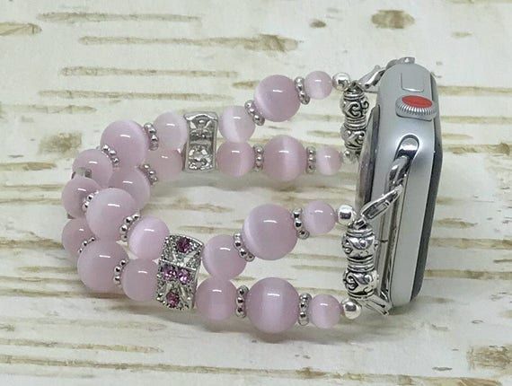 "Apple Watch Band, Women Bead Bracelet Watch Band, iWatch Strap, Apple Watch 38mm, Apple Watch 42mm, Pink Cats Eye, Size 6"" - 6 1/4"""