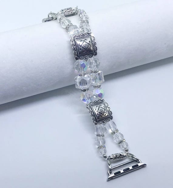 Apple Watch Band, Women Bead Bracelet Watch Band, iWatch Strap, Apple Watch 38mm, 42mm, Silver Decorative Sliders Clear Beads Size 6 1/2""