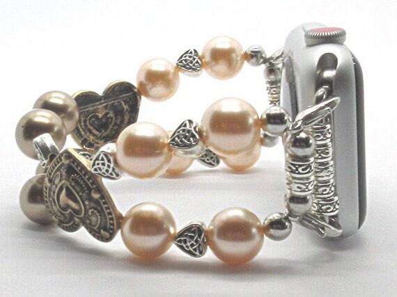"Apple Watch Band, Women Bead Bracelet Watch Band, iWatch Strap, Apple Watch 38mm, 42mm, Gold Hearts Peach/Bronze Swarovski Pearls Size 7"""