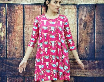 Cow Skull Flower Dress with Pockets