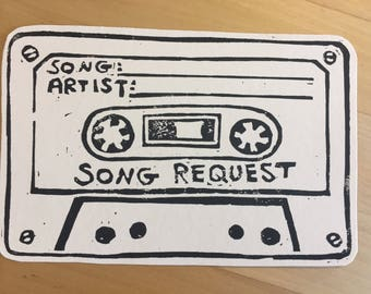 Hand Printed Song Request Cassette Tapes *Pack of 20*