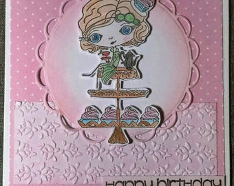 Super cute handmade Birthday card with cupcakes and polka dots.