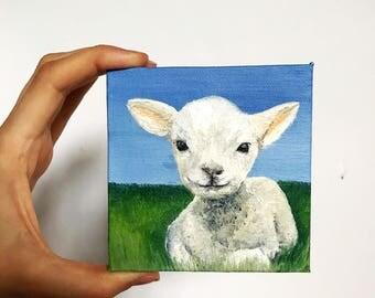 Painting of a Lamb// Sheep Art