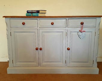Beautiful Solid pine Side board painted in Flint grey shade shabby chic