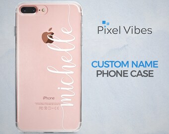 Personalized Phone Case with Custom Name Text on Clear Background for iPhone and Samsung Galaxy Phones