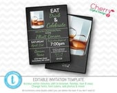 Eat drink & Celebrate Whiskey Retirement Party Invitation | Printable Editable Masculine Retirement invite | Chalkboard