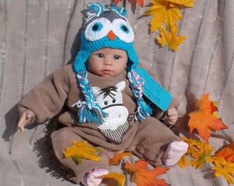 Grey and Blue Owl hat, Owl Shower Gift, Crochet Owl hat, Crochet Photo Prop, Newborn Owl, Boys Owl Hat, Baby Gift, Owl Lover Gift, Owls-Knit