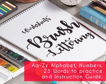 Brush Hand Lettering Worksheets 24 pages. Complete PRINTABLE with instruction guide for Beginners