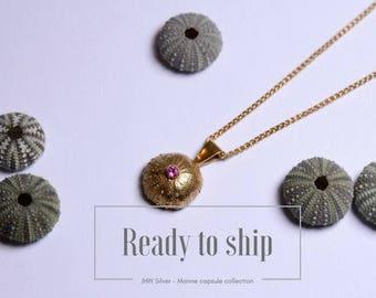 Gold and pink tourmaline sea urchin pendant