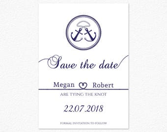 Printable Save the Date, Nautical Save the Date, Navy Blue Save the Date, Custom Wedding Stationery, Anchor Save the Date
