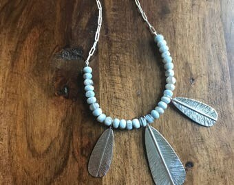 Opal Bead Feather Necklace