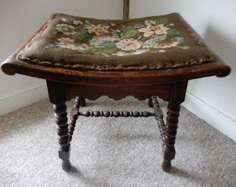 Antique /Vintage Bobbin Turned Leg Stool with Tapestry Seat in greens/Pinks/Brown