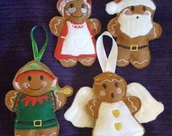 Gingerbread men hangers, Christmas tree decorations, gingerbread men decorations, novelty Christmas decorations, gingerbread men