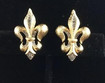 CROWN TRIFARI Fleur de lis Earrings