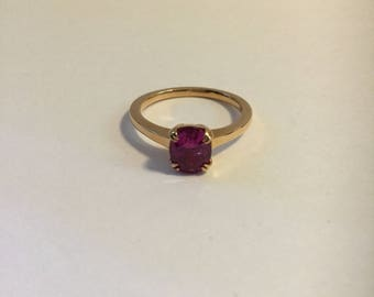 14K Rose gold pink sapphire Ring
