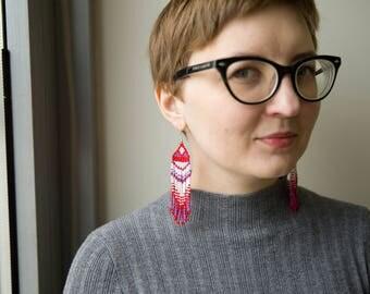 Beaded earrings Seed bead earringsWhite red boho earrings White purple earrings Boho gift for wife Red white beaded fringe earrings