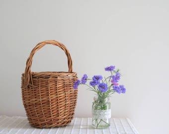 Jane Birkin Basket - small, round wicker basket, circular, handmade, Jane Birkin style, jane birkin bag.
