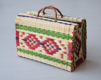 Portuguese traditional bag, Reed Bag with handles, medium size, handmade, handbag, market bag, summer basket, bolsa de mano, Markttasche.
