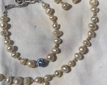 Pearl necklace jewelry set, Bride.Wedding.Something Old, Something New, Something Borrowed, Something Blue. Pearl Set.