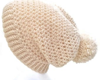 Crochet Slouch Hat, Crochet Slouch Beanie, Ladies Hat, Ladies Slouch Hat, Ladies Crochet Hat, Pompom hat, Bobble Hat, Crochet Bobble Hat