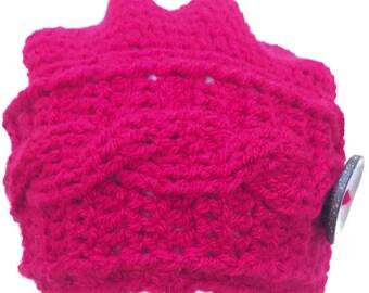 Ladies Slouch Hat, Braided Rim, Slouch Beanie, Crocheted, Crochet Hat, Slouchy, Slouch Hat, Woman cap, Cable Stitch hat, Cable Stitch Beanie