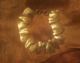 """Pericles Hammered Brass """"Hearts and Squares"""" Bracelet"""
