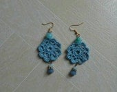 Reserved - Beautiful blue mandala earrings with crystal beads
