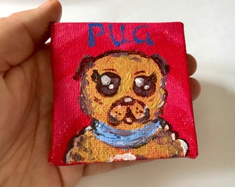 Personalised Valentines Day Card // Mini canvas // Thank You card // Pug painting // Anniversary Card // Wedding card // Teachers gift