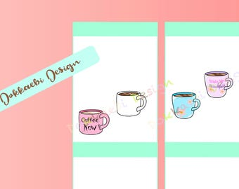 Coffee Mug Stickers, Tea Mug Stickers, Caffeine Lovers Unite!