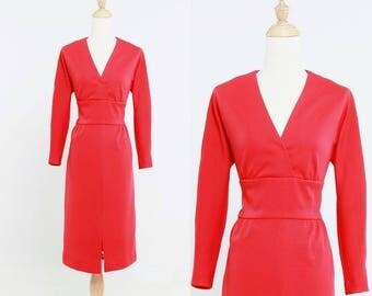 1960s Scarlet Red Jersey Knit Long Sleeved Sheath Dress by Leslie Fay Knits